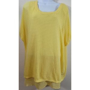 Lane Bryant Yellow Loose Knit Layered Lined Top 14